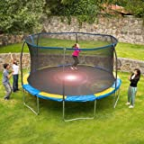 Bounce Pro 12' Trampoline with Flash Light Zone and Safety Net Enclosure (Trampoline with Flash Light Zone)