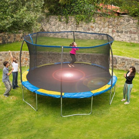 Bounce Pro 14' Trampoline with Flash Light Zone and Safety Net Enclosure (Trampoline with Flash Light Zone)
