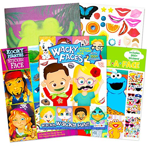 Make a Face Sticker Books for Kids Toddlers -- Set of 3 Jumbo Books with Over 90 Faces and 850 Stickers (Sticker Face Activity Set)