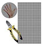 WiredHut 304 Stainless Steel Mesh 5mm Black 12X24 inch Woven Wire mesh Sheet with Steel Cutter - NO Sharp Edges - Rodent mesh, fine Chicken Wire, Decorative Wire Screen, Metal Vent Screen, Crafts