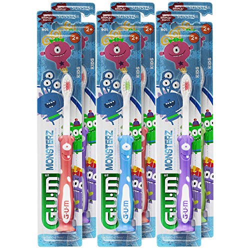 GUM Monsterz Kids and Toddler Toothbrush, Soft, Ages 2+, 1 Count (Pack of 6)