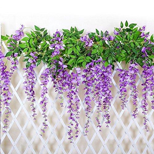 12 Stück Blumen Deko Wisteria Hochzeit Künstlich blumen Blumendeko Elegant Violett Hängend Hause Wohnung Garten Dekoration Lila