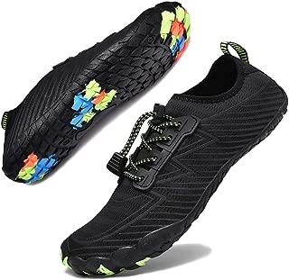 Hotaden Water Shoes for Men Women Quick Dry Barefoot Beach Shoes Aqua Shoes Swim Surf Diving Boating Shoes Black Size: 12 Women/11 Men