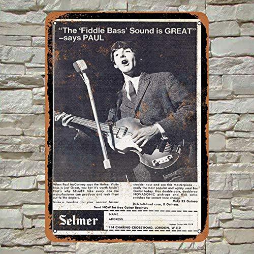 Kilburn 1964 Paul Mccartney Voor Hofner Bass Gitaren Retro Creatieve Wanddecoratie Persoonlijkheid Trend Achtergrond Eenvoudige Stijl IJzeren Schilderen
