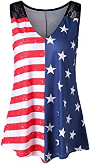 Women American Flag Tops – Summer Plus Size National Flag Print Lace V-Neck Casual Tank Tops Blouse Shirt