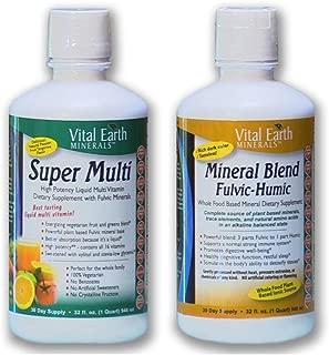 Super Multi Liquid Vitamin & Mineral Blend Fulvic-Humic BUNDLE by, Vital Earth Minerals   32 Fl. Oz. - 1 Month Supply Each   High Potency - Sugar Free - Iron Free - Liquid - Vegetarian