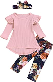 Divilon Toddler Baby Girls Outfit Sets Long Sleeve Ruffle Tops+Floral Pants+Bowknot Headband 3Pcs Infant Clothes