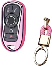 Royalfox(TM) Luxury 2 3 4 5 Buttons TPU Smart keyless Entry Remote Key Fob case Cover for Buick Verano Regal Lacross Encore Envision Enclave GL8 2015 2016 2017 2018 Accessories,with Keychain (Pink)