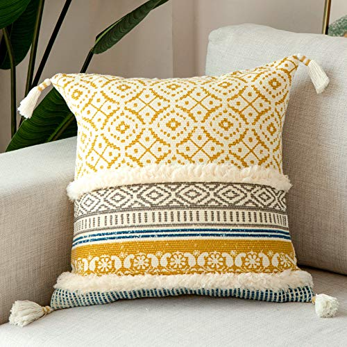 blue page Boho Tufted Decorative Throw Pillow Covers for Couch Sofa - Modern Moroccan Pillow Case with Tassels, Accent Decor Large Pillowcase for Bedroom Living Room Car Hotel, 20x20 Inch, Yellow