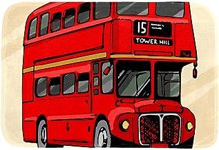 EGGDIOQ Doormats London Double Decker Hand Drawn Red Bus Custom Print Bathroom Mat Waterproof Fabric Kitchen Entrance Rug,...