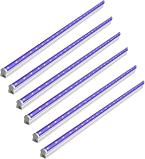 BRTLX UV LED Black Light, 6W, 14.37in/36cm T5 LED Bar, with 5.9ft Power Cord and Switch, Supplies for Fluorescent Poster, Body Paint,Christmas Lights and Party (6-Packs)
