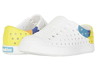 Native Kids Shoes Jefferson Block (Toddler/Little Kid) (Shell White/Shell White/Dot Block) Kids Shoes