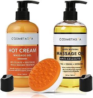 Anti-Cellulite Massage Oil, Gel & Mitt - 100% Natural Cellulite Treatment with Hot Cream Massage Gel, Oil & Massager - Hel...