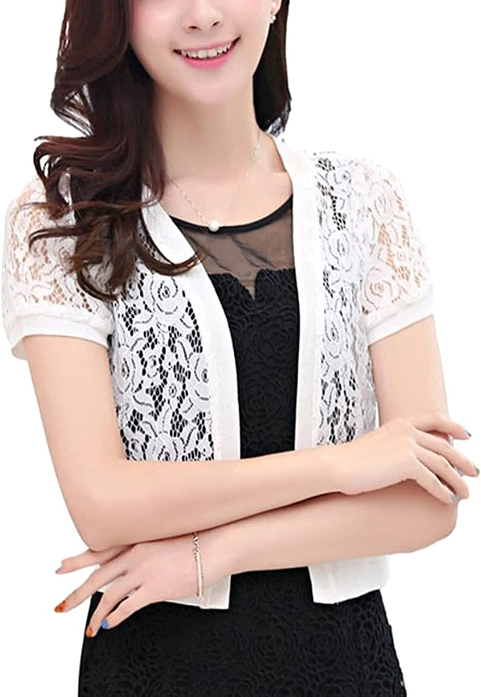 Women's 3/4 Sleeve Floral Lace Crop Shrug Tops Short Sleeve Open Front Cardigan