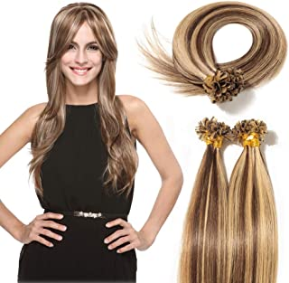 U Tip Fusion Human Hair Extensions Highlighted Ombre Keratin Prebonded Nail Straight Remy Stick Hair Extension 100 Strands 50g- Medium Brown mixed Dark Blonde (16inch #4-27)
