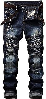 AITITIA Men's Biker Zipper Deco Washed Straight Fit Jeans