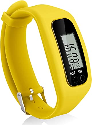 Bomxy Fitness Tracker Watch, Simply Operation Walking Running Pedometer with Calorie Burning and Steps Counting (Yellow)