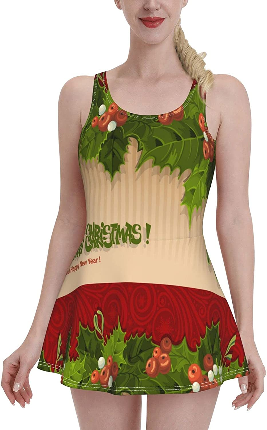 Vintage Merry Christmas Poinsettia Holly Berry Pine Leaves Red Swimdress Swimsuits