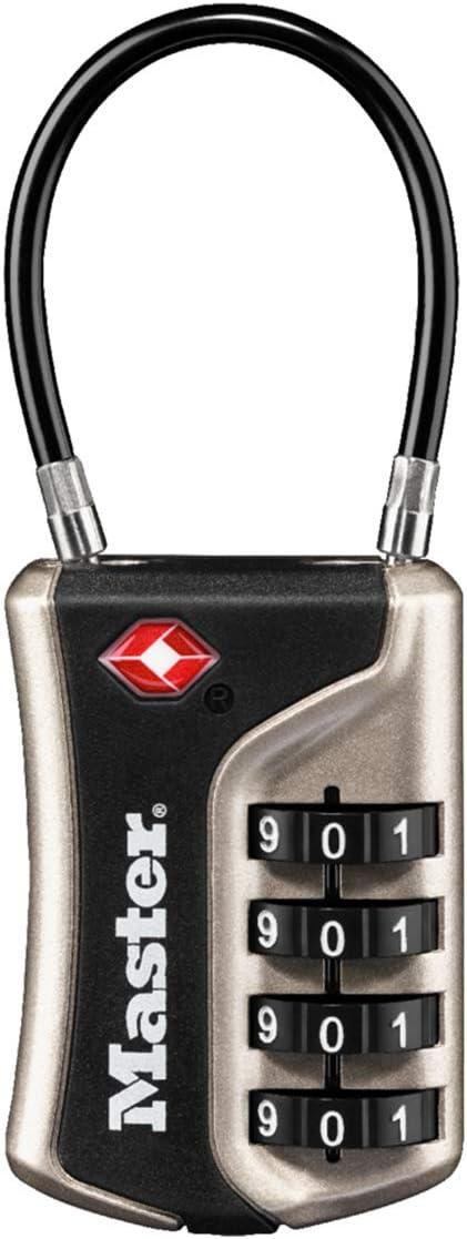Master Lock 4697EURDNKL Candado para Equipaje Aprobado por la TSA con Combinación, Níquel, 9.3 x 3.6 x 1.5 cm