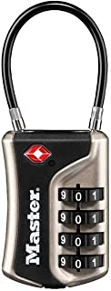 Master Lock 4697EURDNKL Combination Travel Padlock TSA Certified, Nickel, 9,3 x 3,6 x 1,5 cm