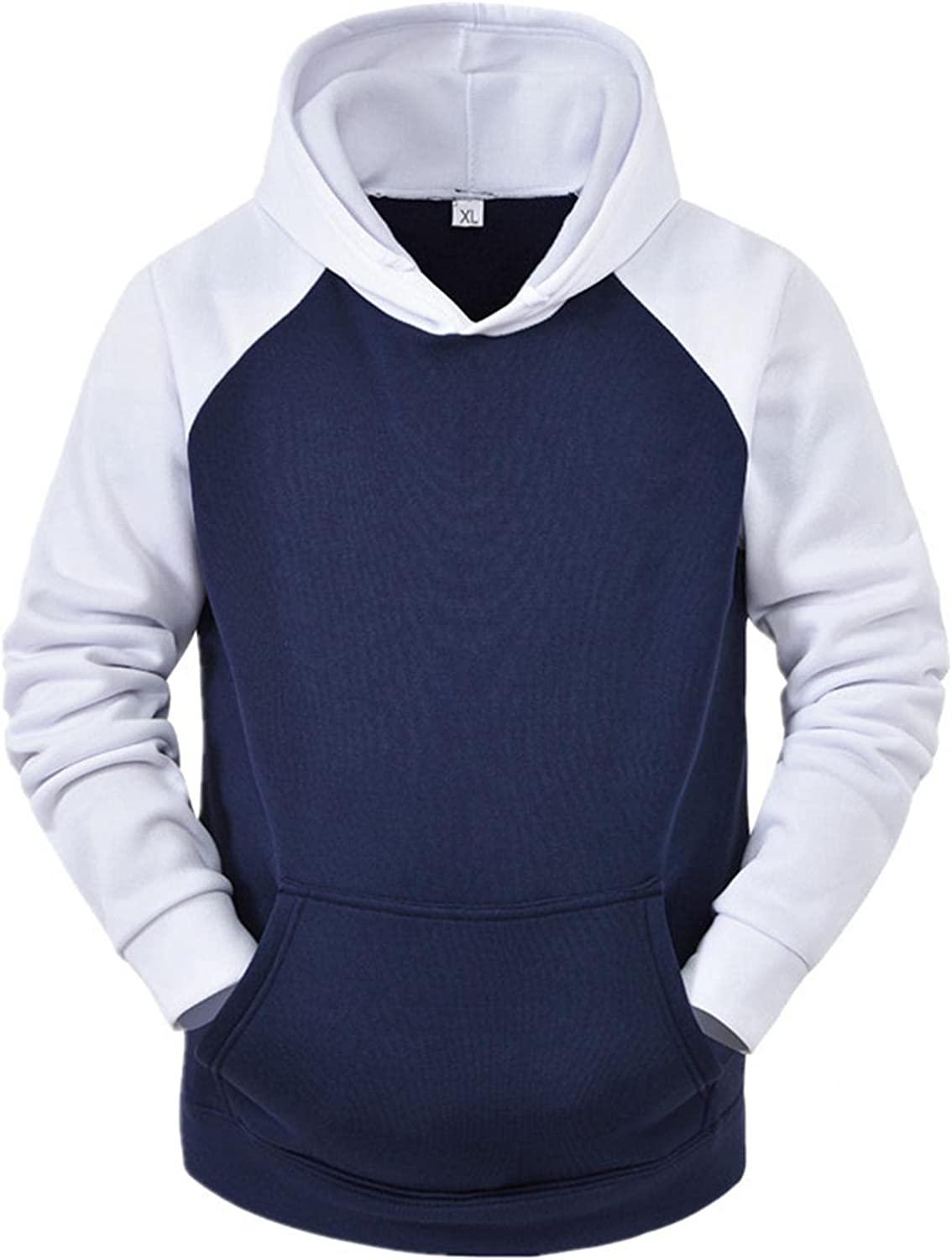 Men's Hoodie Patchwork Athletic Sweatshirt Long Sleeve Drawstring Pullover Tops Jacket Gym Hooded Outwear with Pockets