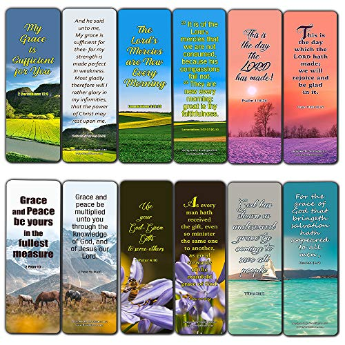 God's Grace is Sufficient KJV Bookmarks (12-Pack) - Collection of Bible Verses for Daily Motivation