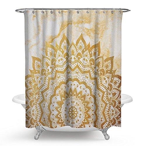 kisy artística étnico Mandala Boho Yoga medallón de flor de loto impermeable baño cortina de ducha Vintage crema textura de mármol baño cortina de ducha tamaño estándar 70'x 70' crema
