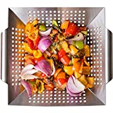 Vegetable Grill Basket and Wok Topper use as a Pan or Smoker. with Ebook Bonus | For Stir Fry and Grilling Fish, Seafood, Kabob, Pizza, Veggies & Fruit. Best BBQ Grilling Accessories. stainless steel.