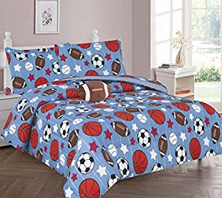 GorgeousHome GAME DAY Design Blue Red Deluxe Kids/Teens Boys Complete Bedroom Decor Comforter/Sheet Set or Window Dressing...