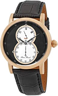 Men's 'Infinity' Quartz Stainless Steel and Leather Watch, Color:Black (Model: LP-40044-RG-01)