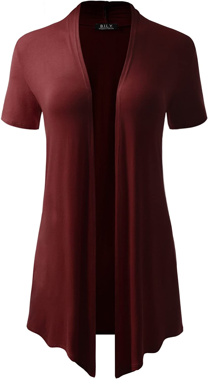 BH B.I.L.Y USA Women's ShortSleeve Open Front Drape Cardigan with Side Pockets Burgundy XXLarge