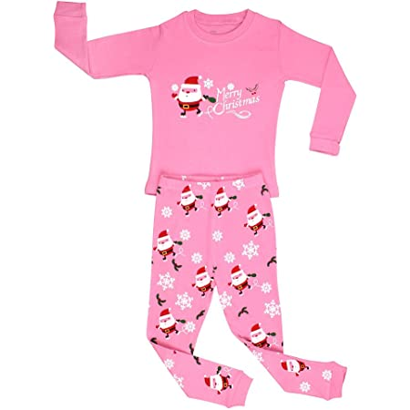 elowel | Pijamas De Niñas | Bebé, Pequeño, Chicas, Ropa De Dormir 2 Piezas | Algodon | Calido | Tamaño: 7 Años (122) | Colro: Rosa | Diseño: Santa Navidad