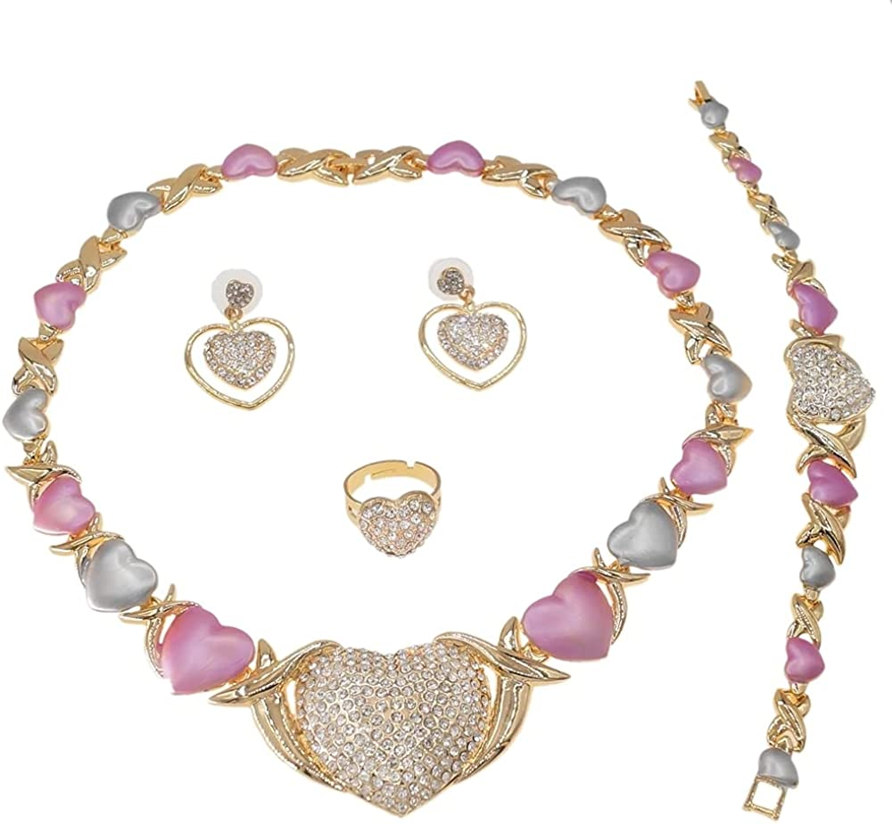 Women's Hugs & Kisses XOXO Real Gold Plated Layered 4 Pieces Necklace Set Multi Color Shiny Real Looking Diamond Heart Pedant Necklace Includes Necklace Bracelet Ring Earrings
