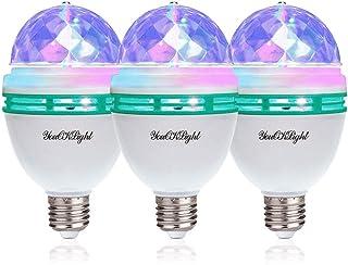 YouOKLight 3-Pack E26 Full Color Rotating Lamp LED Strobe Bulb Multi Crystal Stage Light..