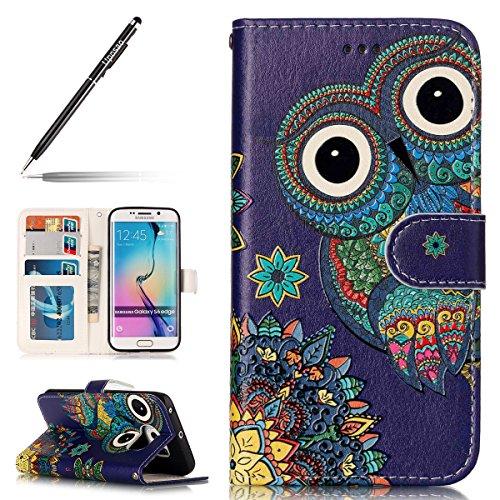 Uposao Coque Galaxy S7,Housse Galaxy S7, Pochette Portefeuille Cuir Coque de Protection Housse Flip Cover Case Coque à Rabat Magnétique Beau Rétro Motif 3D Coque pour Galaxy S7,Hibou