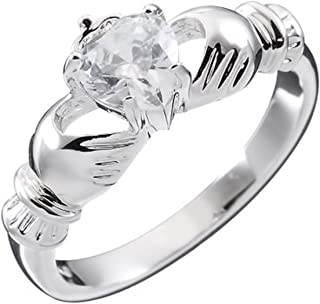 UPCO Jewellery Donna Sterling Silver, Irlandese Birthstone Claddagh aprile con Clear White 4 Poli Set 9 Millimetri 2ct CZ ...