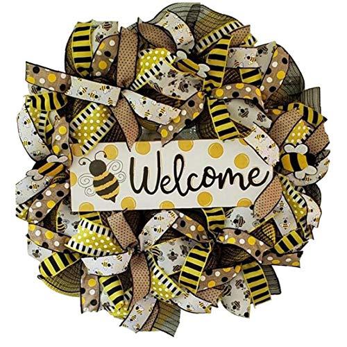 Bee Solros Krans Artificial Sunflower Front Door hängande Halsband Ornament Krans Bee Day Spring Krans lycklig Honey Bee Decor Garland väggdekor påskpynt Style4