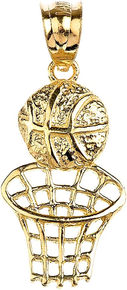 Sports Charms 10k Yellow Gold Basketball Hoop Pendant