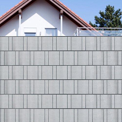 Jetzt neu - Schöner Sichtschutzstreifen als Zierstreifen für Ihren Metallzaun - Silber - Sichtschutzstreifen Rattan - Korbgeflecht - Optik - inkl. 2 Klemmleisten