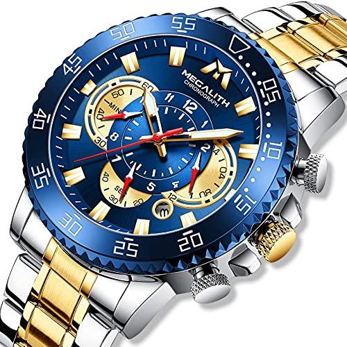 MEGALITH Reloj Hombre Grande Cronografo Acero Inoxidable Reloj de Pulsera Oro Analógico Impermeable Relojes Luminoso Calendario -Oro Azul