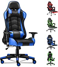 ALFORDSON Gaming Chair Racing Chair Executive Sport Office Chair PU Leather Armrest Headrest Home Chair (Regan Blue)