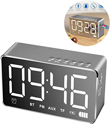 Reloj Despertador Digital LED con Altavoz Bluetooth y Radio FM ...
