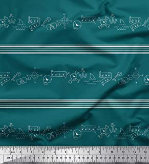 Soimoi Green Rayon Crepe Fabric Stripe,Anchor Hook & Skull Halloween Print Fabric by The Yard 46 Inch Wide