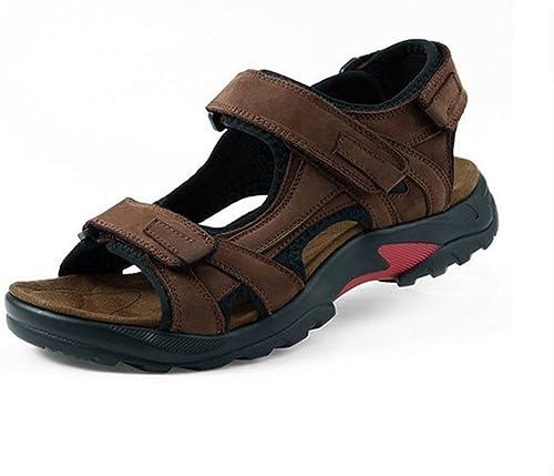 Xie Hommes Cuir Sandales Bout Ouvert Exercice Sandales Coussin Coussin Confortable Antidérapant Décontracté Chaussures de Plage  vente en ligne