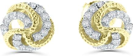 14K Gold Diamond Earrings for Women Knot Earrings Screw on Back 1/5ctw Diamond 7mm Round Studs