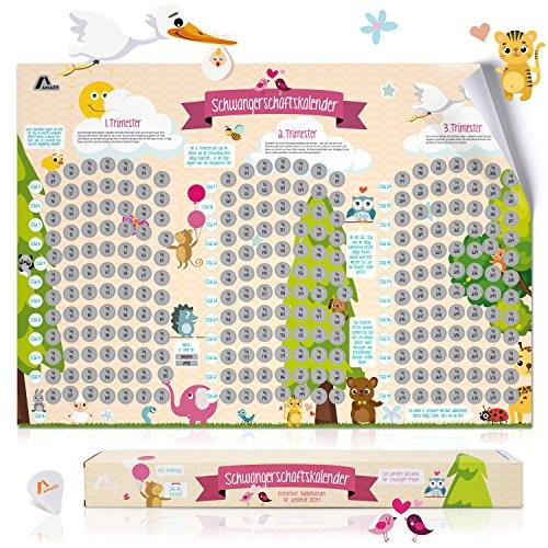 Amazy Schwangerschaftskalender zum Freirubbeln inkl. Geschenkbox + Rubbelchip – Lustiger Rubbel-Kalender mit spannenden Infos für werdende Eltern – von der 5. SSW bis zur Geburt