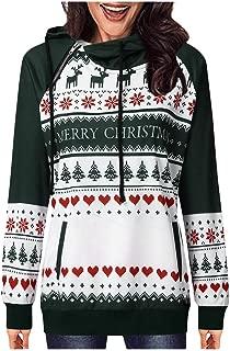 LONGDAY Long Sleeve Christmas Pullover HoodiesWomen Tunic Tops and Blouses Simple Round Neck T-Shirt Sweatshirt