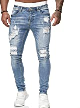 Koodred Men's Ripped Distressed Destroyed Skinny Slim Fit Tapered Leg Stretch Denim Pants Jeans
