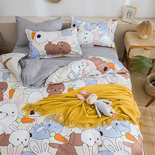 Animal Printed Duvet Cover Sets 3pcs for Double King Single Size Bed, Morbuy Soft Microfiber Bedding Set with Zipper Closure Quilt Cover + 2 Pillowcases (Bunny,200x200cm)