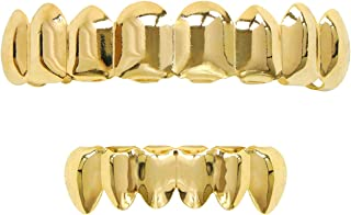 24k Plated Gold Grillz 8 Teeth Mouth Top and Bottom Grills Set Shiny Hip Hop Teeth Grillz + 2 Extra Molding Bars